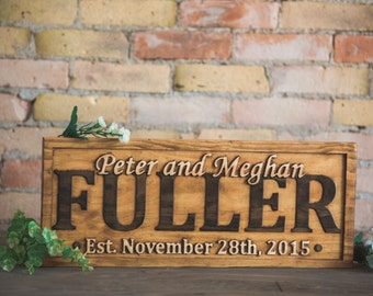 Personalized Family Name Sign Couple Wedding Gift Last Name Sign Established Sign Custom Wooden Sign Wood Plaque Personalized Carved sign