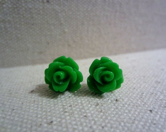 Kelly Green Rose Stud Earrings