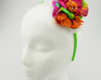 Headband (lime green, pink, orange, ivory, pearl beads)