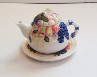 Vintage Ceramic Fruit Picnic Teapot and Saucer