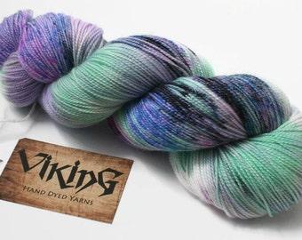 Hand Dyed Yarn - Hand Dyed Sock Yarn - Superwash Merino Wool with Stellina in 'Interstellar'