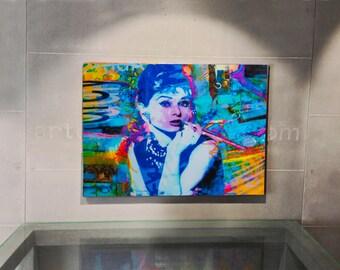 Audry Hepburn, Modern Metal Wall Art, Ready to hang Wall Art, Mixed Media Wall Art, Figurative Art, Living Room Wall Decor, Pop art painting