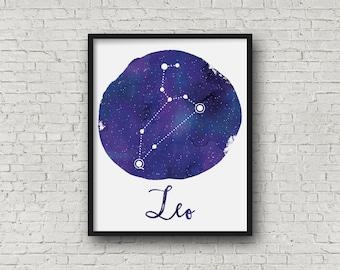 Leo Zodiac Constellation Wall Art, Leo Art Print, Astrology Digital Art Print, Home Decor, Watercolor Art, Instant Download 0076