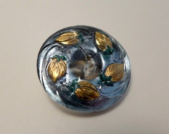 Czech glass button -  blue, gold - 27mm
