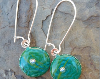Blue Flower Imprint Earrings / one of a kind