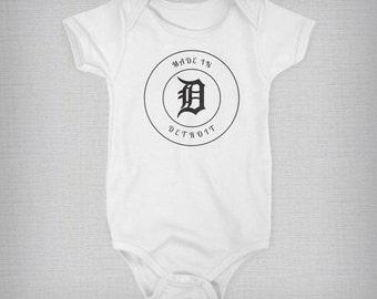 Detroit Baby Onesie, Made in Detroit Onsie, Baby Boy, Baby Girl, Baby Gift, Unique Onesie, Retro Onesie, Retro Baby Clothes