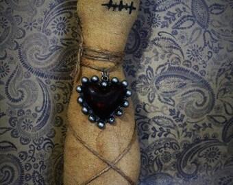 Creepy Doll-Fabric Dark doll-Voodoo style doll-Gothic decor-Primitive decor-Primitive creepy doll-Horror-Evil doll-Dark Valentine decor