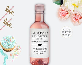 Mini Wine Bottle Labels Bridal Shower Favor