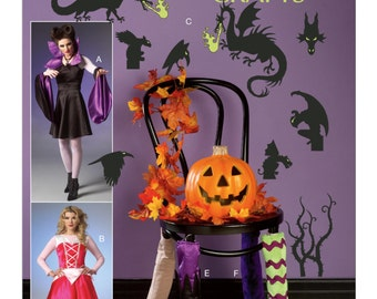 Sewing Pattern for Halloween Apron Costume, Decorations McCall's Pattern 7209, Halloween Decor, Costume, Chair Leg Covers, Silhouettes