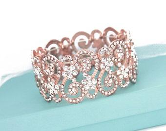 Bridal rose gold bracelet, Rhinestone wedding bracelet, Rose gold bridal jewelry, Bridesmaid bracelet, Crystal bracelet cuff 0120RG