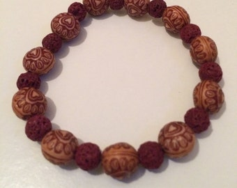 Red Lava Bead Bracelet