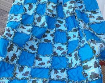 John Deere quilt, John Deere Rag Quilt, John Deer Throw
