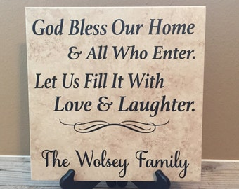 Personalized Tile,  Bless this home Sign, Last Name Sign, Bless This Home, Family Name Sign, Name Sign, Wedding Gift,  Personalized Gift