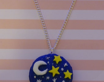 Starry Night Blue Macaroon Necklace