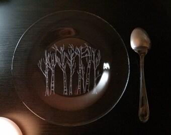 Engraved birch tree plate, dessert plate, serving plate, birch tree art, etched birch tree, glass engraving