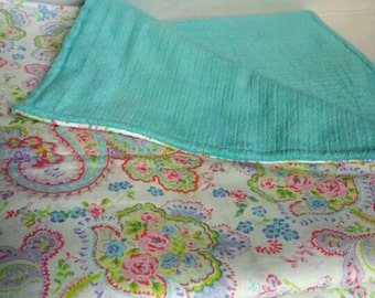 "Baby Blanket - Paisley/Floral Turquoise Minky Blanket - 30"" x 36"""
