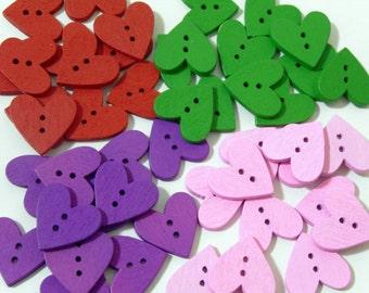 12 Heart shape wooden buttons #EB2