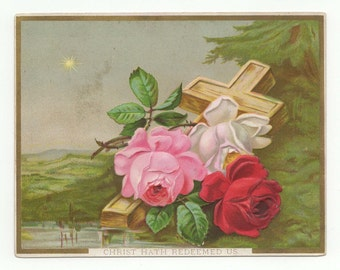 Two 1880s Cards W/Roses