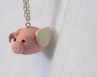 Flying Pig Pendant Necklace