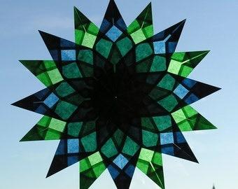 Window mandala, window star, waldorf star, paper art, type ERIN