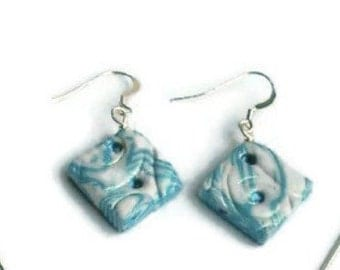 Polymer clay earrings, sterling silver earrings, white, blue and silver, crystal embellishments, unique earrings , gift for her.