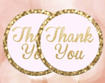 """Thank You Tags, Pink and gold bokeh, Thank you Stickers 2"""" Pink and gold labels, Printable favor tags, Digital File."""