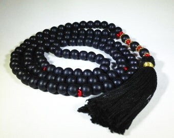 Black wood mala, 8mm, 111 beads.  Excellent beginner mala.