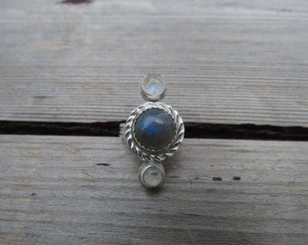 Moonstone and Labradorite Sterling Ring Size 6.5