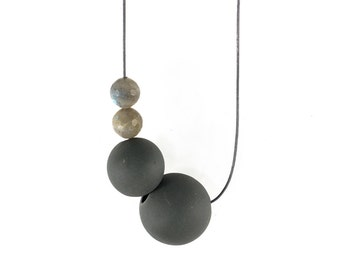 Grey Necklace with Porcelain and Labradorite Beads