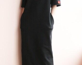 Black long hooded sweatshirt dress cyberpunk, hoodie dress