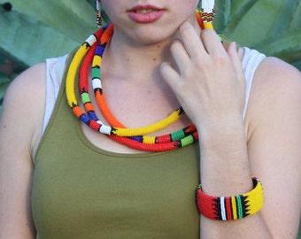 Clip-on African Zulu Beaded Bracelet- Multicolour