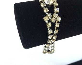 Rhinestone Bracelet - Bridal Bracelet - Wedding Bracelet - Vintage Hollywood Jewelry - Crystal Bracelet - Silver Bracelet - Bridal Jewelry