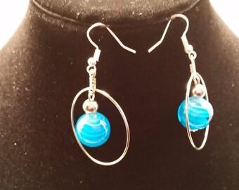 Blue orbit earrings