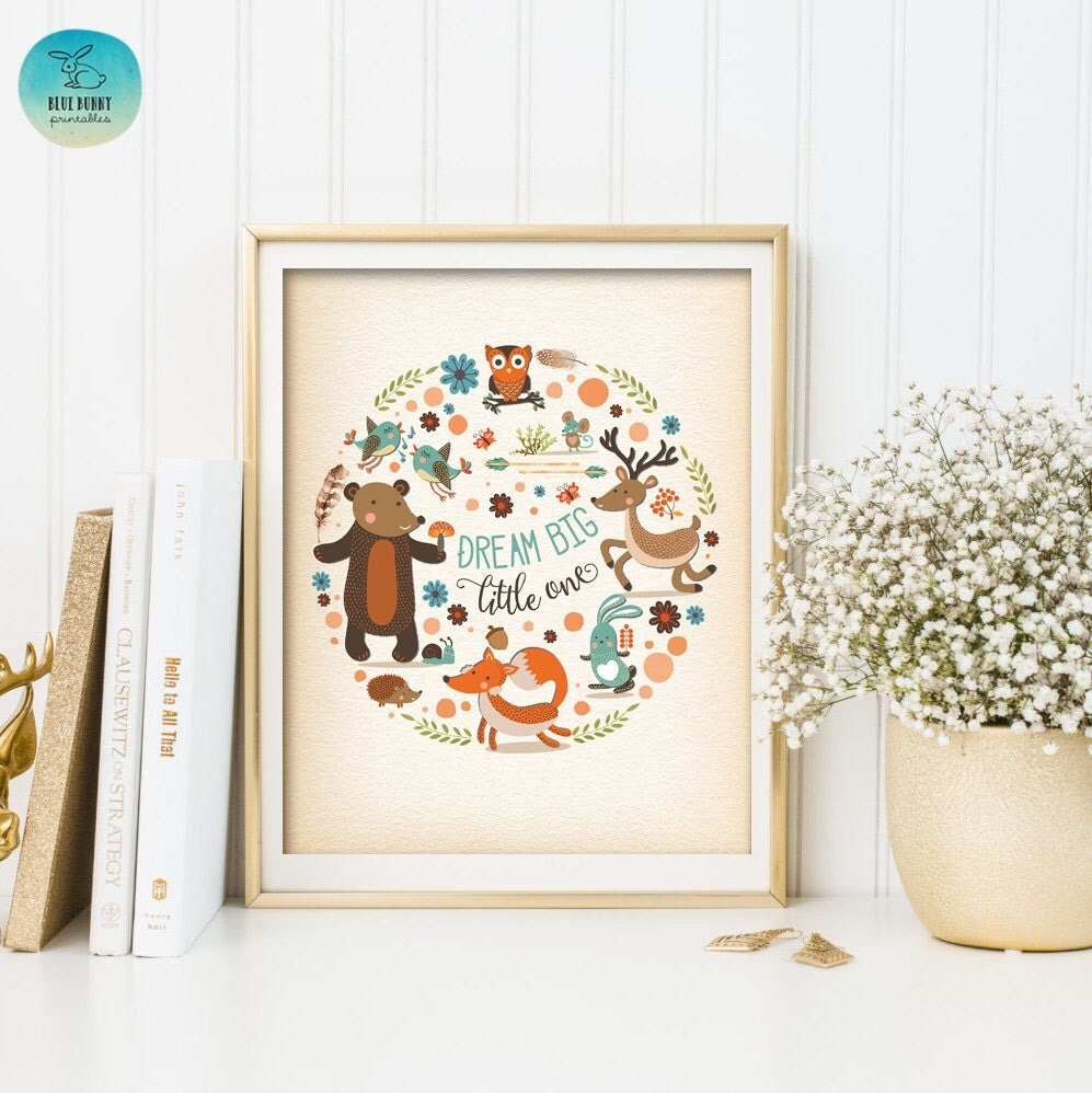 whimsical woodland wall art printable forest nursery print dream big little one woodland