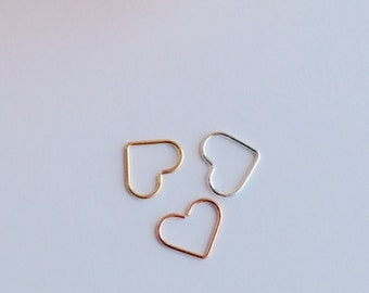 Open Heart Helix Earrings, Cartilage Rook Tragus Earring, 14K Gold Filled, 14K Rose Rold Fill, Sterling Silver.