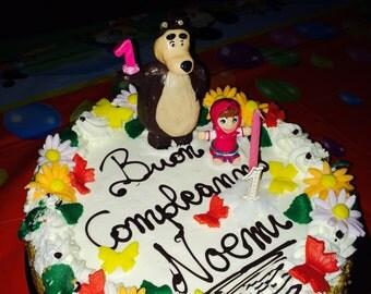 Masha and the bear birthday cake Topper