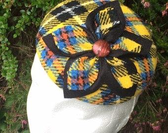 Yellow tartan Harris Tweed Hat