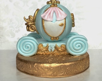 Once Upon a Time Cake Topper. Fondant Princess Carriage Cake Topper. Cinderella Carriage cake topper. Fondant Birthday Cake Topper