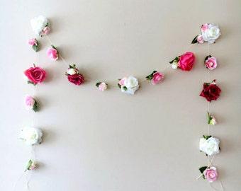 Flower garland 11 ft, Floral bunting 11 ft, Rustic wedding decor, Vintage nursery decoration, Bridal garland, Wedding bunting