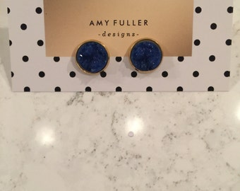 12mm blue Drusy in gold setting