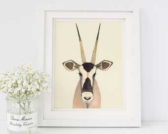 Antelope Watercolor Painting | Antelope Print | Safari Animal Nursery Decor | Watercolor Africa Safari Animal | Antelope Art | Safari Decor