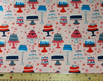 """Cakes & Pastries Fabric, Yardage or Fat Quarters, FQ, """"Bake"""" in Peach by Windham Fabrics - Julia Rothman, Cakes, Pies, Cupcakes, Desserts,"""