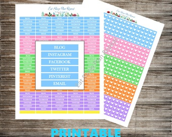 PRINTABLE for Erin Condren Blogger Social Media Headers and Matching Heart Chcecklists, Two Pages Multicolor for Life Planner Vertical