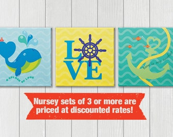 Nursery ocean theme wall art and decor, set of 3