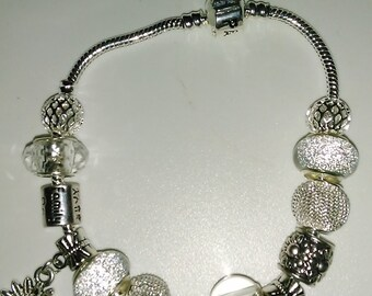 European bracelet, bright transparency, charms