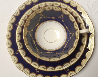 Stunning cabinet teaset: cobalt blue and gold with intricate gilding make this teaset very special.