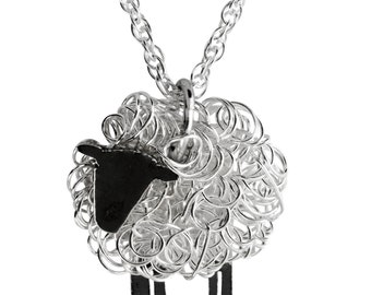 Silver sheep pendant, Sheep Jewellery, Sheep Jewelry, Wales, Sheep Gifts, Sheep Present, Welsh Jewellery, Welsh Jewelry, Sheep Brooch