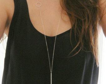 Silver Line Pendant Necklace