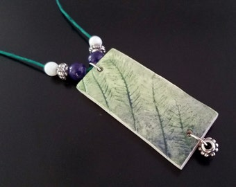Jacaranda - Beaded Polymer Clay Pendant Necklace in Blue and Green
