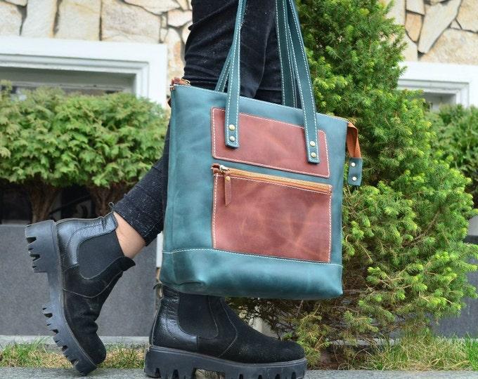 Leather tote, Leather Tote bag, Woman Handbag, Leather Shoulder bag, Green large tote bag, Green bag, Large woman bag